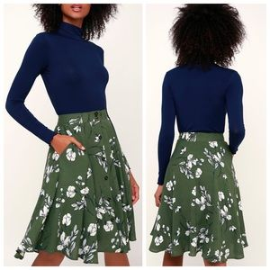 Lulus love blooms green floral midi skirt